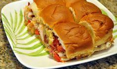 Mini chicken sandwich on hawaiian sweet rolls
