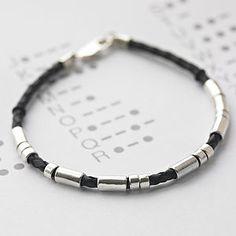 Personalised Men's Leather Morse Code Bracelet - jewellery & cufflinks