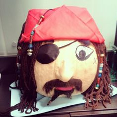 Halloween Decorated Pumpkin: painted, pirate