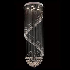 Byb Modern Chandelier Rain Drop Lighting Spiral Wave Crystal Ball Fixture Pendant Ceiling Lamp