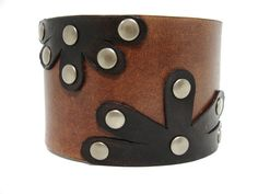 Brown Leather Cuff Flowers by ChristyKeysCreations on Etsy, $28.00