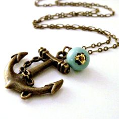 Anchor Necklace Nautical Necklace Beach Wedding Turquoise Charm Necklace Resort Jewelry - Sweet Anchor. $24.00, via Etsy.