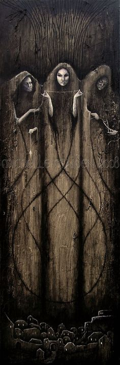 """The Norns in Norse mythology are Goddesses who rule the destiny of Gods and men. The Norns spin the threads of fate at the foot of Yggdrasil, the tree of the world. Whereas the origin of the name norn is uncertain, it may derive from a word meaning """"to twine"""" and which would refer to their twining the thread of fate.:"""