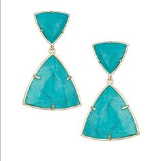"""Kendra Scott Maury Turquoise Magnesite Earrings Kendra Scott """"Maury"""" earrings. 14-karat gold-plated brass. Triangular turquoise-dyed magnesite. For pierced ears. Imported. Price firm right now, no trades. $72 on Ⓜ️ Kendra Scott Jewelry Earrings"""