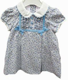 Vestido infantil de estampado liberty azul con manga farol y cuello bebé - Vestidos para Bebé y Niña hasta los 4 Años - Mundo Kiriko