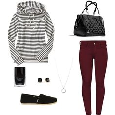 Striped Sweatshirt and Cranberry Jeans