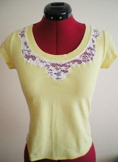 Add lace detail to a plain tshirt