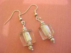 Small White Square Glass Bead Earrings with Silver by Kaboochie, $7.20