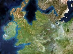 Doggerland satelite image - a satellite photo of Western Europe as it was years ago. No need to say this is a speculative re-engineered rendering, as there obviously were no satellites circling the globe at the time. Satelite Image, Roman Britain, Northern England, Fantasy Map, Alternate History, Historical Maps, Ice Age, North Sea, British History