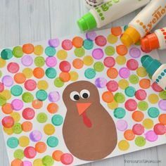 Do A Dot Thanksgiving Craft for Kids - - The supplies and steps for this Dot a Dot Thanksgiving Craft are simple and basic making it the perfect Thanksgiving turkey craft for young kids. Thanksgiving Crafts For Toddlers, Thanksgiving Crafts For Kids, Holiday Crafts, Thanksgiving Turkey, Thanksgiving Craft Kindergarten, Thanksgiving Activities, Thanksgiving Desserts, Summer Crafts, Daycare Crafts