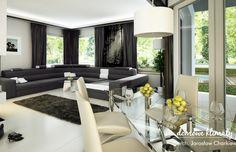 House design Andromeda N m² - Domowe Klimaty Two Story House Design, Two Story Homes, House Entrance, Ground Floor, Floor Plans, Flooring, Living Room, Table, Furniture