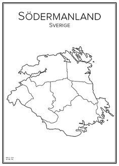 Södermanland. Sweden. Map. City print. Print. Affisch. Tavla. Tryck. Black White Art, City Maps, Ancestry, My Arts, Colours, Hem, Tattoo Ideas, Prints, Sweden