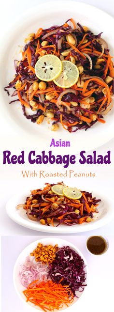 Asian Red Cabbage Salad - Shredded red cabbage, carrots and onions mixed with roasted peanuts dressed in honey, olive oil, cumin and crushed black paper. Vegetarian Salad, Vegetarian Cabbage, Vegetarian Recipes, Healthy Recipes, Red Cabbage Salad, Cabbage Salad Recipes, Veggie Food, Vegetable Recipes