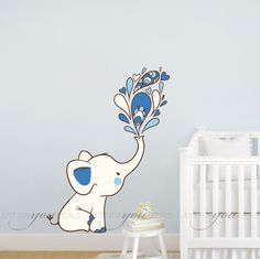 Elephant Wall Decal - Nursery Wall Decal - Playroom Wall Decal - Animal Wall Decals - Wall Stickers - Custom Decals Wall Graphics - 07-0004
