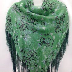 Green+Silk+Shawl+Lush+Green+Paisley+scarf+Emerald+Scarf