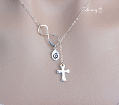 Cross and infinity lariat necklace in Sterling Silver, infinity necklace, cross necklace mother day gift forever with god baptism gift. $34.00, via Etsy.