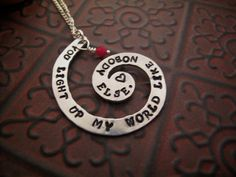 One Direction Necklace Hand Stamped Necklace You Light Up My World Like Nobody Else. $15.00, via Etsy.