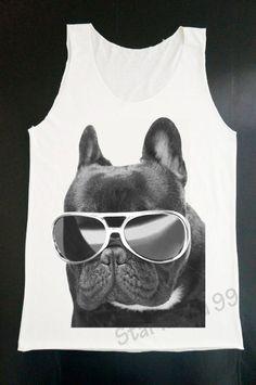 French Bulldog Glasses Tank Top Dog Funny Tank by StarMania99, $16.00