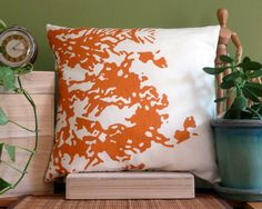 18 inch x 18 inch Decorative Throw Pillow Cover -  Orange Print on 100% Swedish Linen, White Cotton/Poly Backing. $75.00, via Etsy.