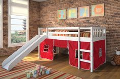 Twin Loft Bed w/ Slide and Tent
