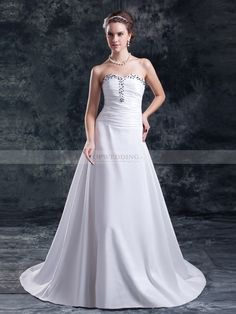 Charis - Robe de mariée col en coeur traine mi-longue plissée avec rhinestones satin