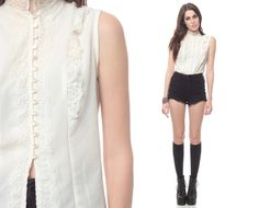 White Lace Blouse 80s Ruffle Top Button Up 1980s Lacy by ShopExile, $39.00