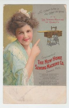 1909 Trade Card The New Home Sewing Machine Company Orange Mass