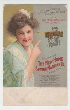 1909 Trade Card The New Home Sewing Machine Company Orange Mass