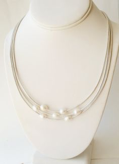Pearl leather necklace by JudysDesigns on Etsy