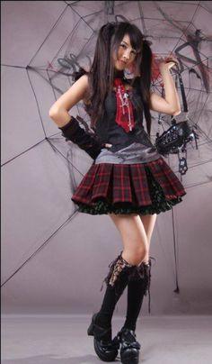 Tartan Two Piece Gothic Lolita Skirt Punk Rave Large Lolita Fashion, Gothic Fashion, Kawaii Fashion, Kilt Skirt, Tokyo Street Style, Punk Rave, Japanese Street Fashion, Lolita Dress, Gothic Lolita