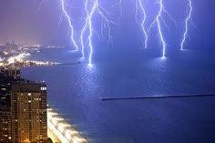 Six lightening strikes caught at once.. Lake Michigan.