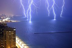 Six lightening strikes caught at once.. Lake Michigan.