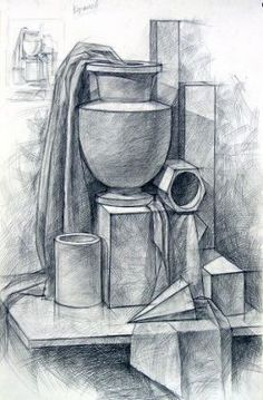 Ideas for drawing pencil artworks Pencil Sketch Drawing, Basic Drawing, 3d Drawings, Pencil Drawings, Academic Drawing, Still Life Drawing, Still Life Sketch, Geometric Drawing, Object Drawing
