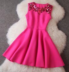 Handmade sequins Slim was thin big swing dress sleeveless vest bottoming--rose
