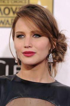 Jennifer Lawrence. Penteados despenteados para levar a um casamento. #casamento #penteado #apanhado #despenteado #preso #convidada