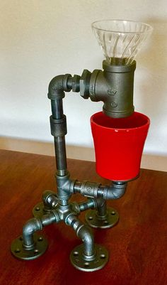 Black Pipe, Steampunk, Industrial Pour Over Coffee Maker, Coffee Brewer, Coffee Dripper Espresso Machine Reviews, Best Espresso Machine, Coffee Type, Great Coffee, Coffee Dispenser, Different Types Of Coffee, Pour Over Coffee Maker, Coffee Industry, Coffee Dripper