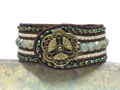 Green Beaded Leather Bracelet, Green Cuff, Beaded Bracelet, 5 Row Cuff, Bracelet, Boho Jewelry, Holiday Jewelry, Picasso Cuff by SunsetSouthPaw on Etsy
