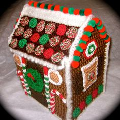 Christmas Gingerbread House  Hand Crocheted by MyNannyMadeIt, $50.00 on etsy.com.