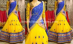 Yellow Lehenga by Sony Reddy, embellished with blue border and blue motifs, paired with blue dupattta and yellow designer blouse. Half Saree Designs, Lehenga Designs, Blouse Designs, Lehanga Saree, Half Saree Lehenga, Sarees, Lahenga, Indian Attire, Indian Wear