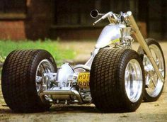 Amazing 3 Wheelers - #searchlocated - very low silver trike with racecar rear tires