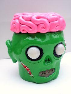 Zombie Stash Box - Brains - Undead - Treasure - Gross -Geek - Dead - Polymer Clay. $50.00, via Etsy.