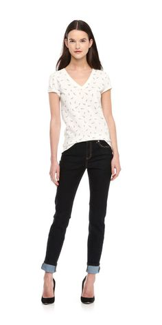 Feather Print Tee in White from Joe Fresh $12