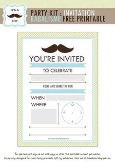 Mustache invitation birthday baby shower party Mustache