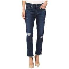AG Adriano Goldschmied Beau in Winnow (Winnow) Women's Jeans ($210) ❤ liked on Polyvore featuring jeans, rolled up jeans, boyfriend cropped jeans, ripped jeans, distressed jeans and blue jeans
