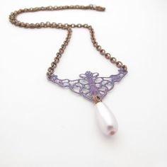 Hand Painted Filigree Necklace