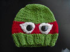 Knitted Teenage Mutant Ninja Turtle Hat - Infant size - Raphael