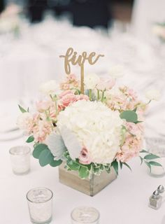 White hydrangeas, pink and gold accents centerpieces: http://www.stylemepretty.com/california-weddings/san-juan-capistrano/2016/09/23/old-world-elegance-meets-garden-romance/ Photography: Sposto - http://spostophotography.com/