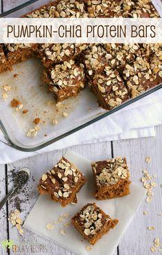 Pumpkin-Chia Protein Bars | EricasRecipes.com