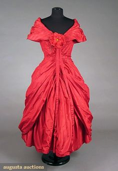 Red Dior Ball Gown, Unlabeled, 1957, Augusta Auctions, May 2007 Vintage Clothing & Textile Auction, Lot 762