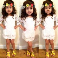 Elegant Toddler Kids Girls Floral Lace Tops Skater Dress Dresses Clothes 2-11Y #Unbranded #Everyday